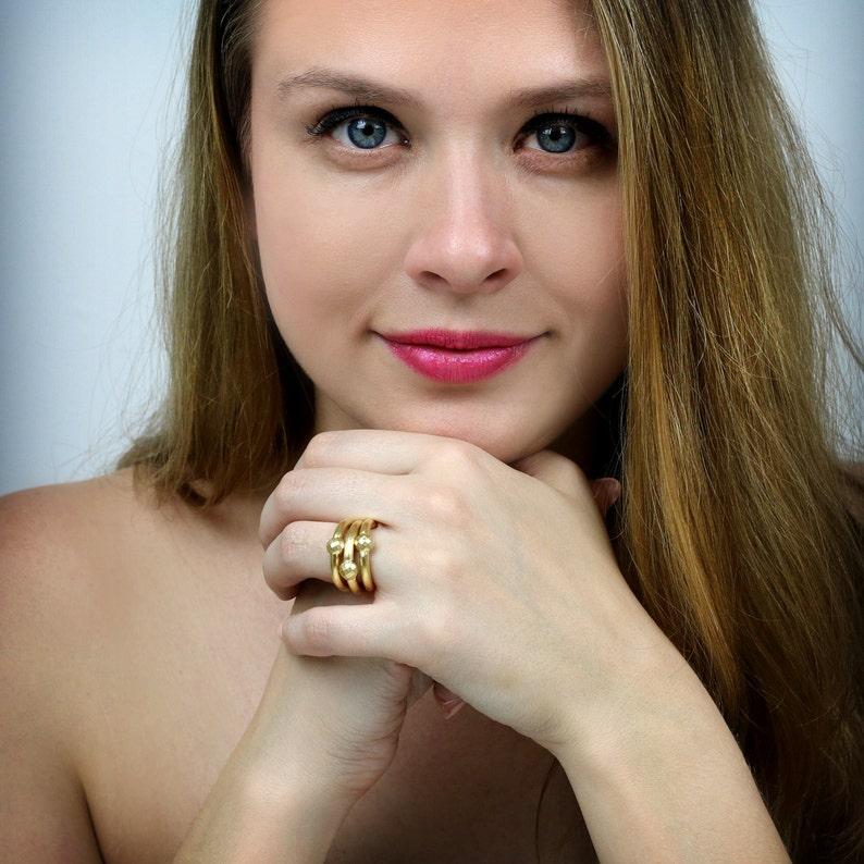 Gold stacking rings,ring set,stackable rings,metal stone rings,triple band set,rose gold rings,bridal ring set