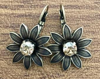 Floral Swarovski Crystal Earrings - Crystal Earrings - 3D Earrings - Flower Earrings - Golden Shadow Crystal Earrings (ITEM # 9364)