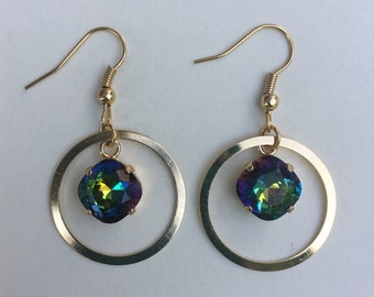 Swarovski Dangle Hoop Earrings - Gold Swarovski Circle Dangle Earrings - Swarovski Vitrail Dangle Earrings (Item # 2653)