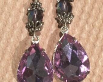 Purple Crystal Dangle Earrings - Purple Swarovski Crystal Dangle Earrings - Purple Earrings -  Purple Crystal Dangle Earrings (Item #6655)