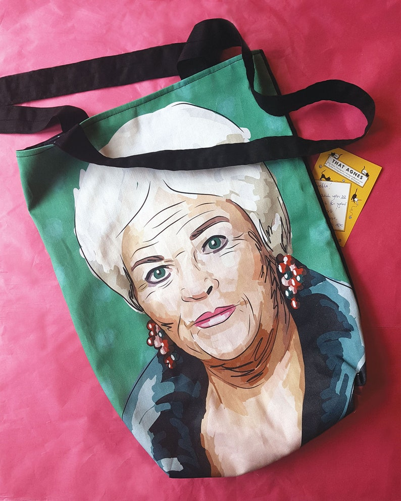 Pat Butcher Tote bag with dotty lining. Strong handmade and image 0