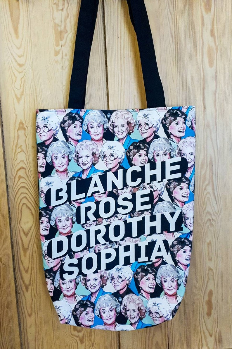 Golden Girls-inspired illustrated tote bag with purple lining. image 0