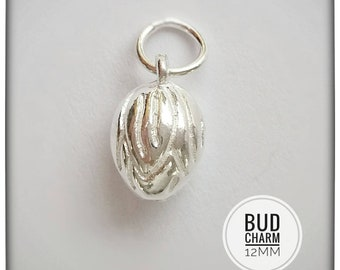 6 Flower bud charms antique silver tone F99