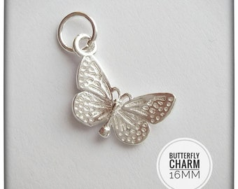 62b25c88a Sterling Silver Butterfly Charm 16mm - Silver Charm - Silver Butterfly  Charm - Sterling Silver Charm