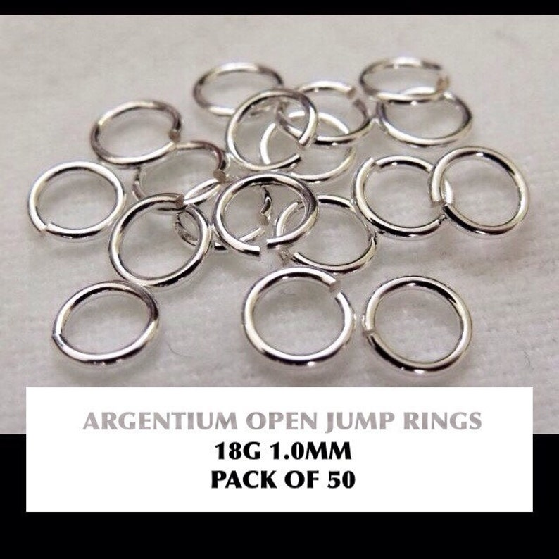 Pack of 50 0.9mm wire, approx. AWG 19 Sterling Silver Jump Rings