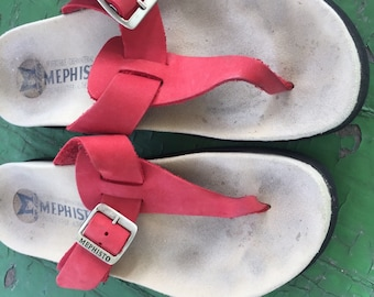 Vintage Mephisto Red Leather Thongs 36/6