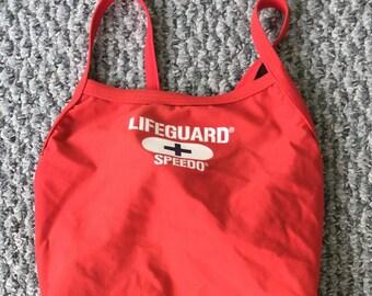 3ee3401a4471c3 Vintage Women s Speedo One Piece Red Tank Swimsuit 6 32