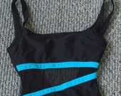 Vintage Anne Cole Black Blue Mesh One Piece Swimsuit