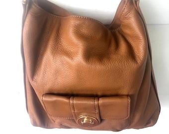 22cfb027a5a2 Michael Kors brown Leather Hobo Shoulder Handbag