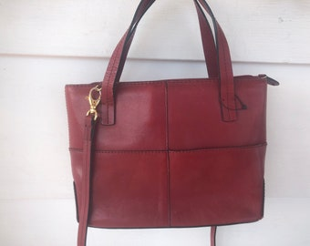 Vintage Etienne Aigner Oxblood Convertible Tote Crossbody Bag 56728a44bd8a7