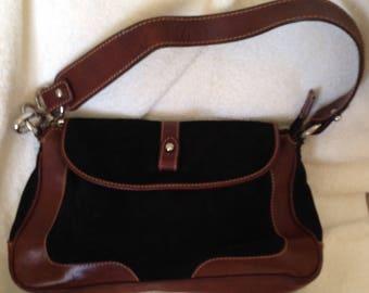 22ea063e7e57 Iponte Firenze Two Tone Black Brown Suede Shoulder Bag Purse Handbag Italian