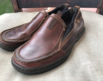 c7989c04eda Vintage Men s Timberland Brown Leather Casual Loafers Slip On Shoes 8