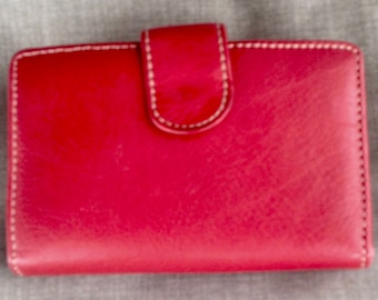REDUCED! Vintage Red Leather Wallet with kisslock coin purse