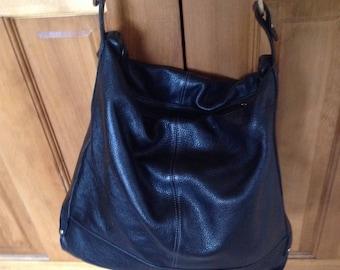 Vintage Celsius Black Leather Large Black Leather bucket handbag