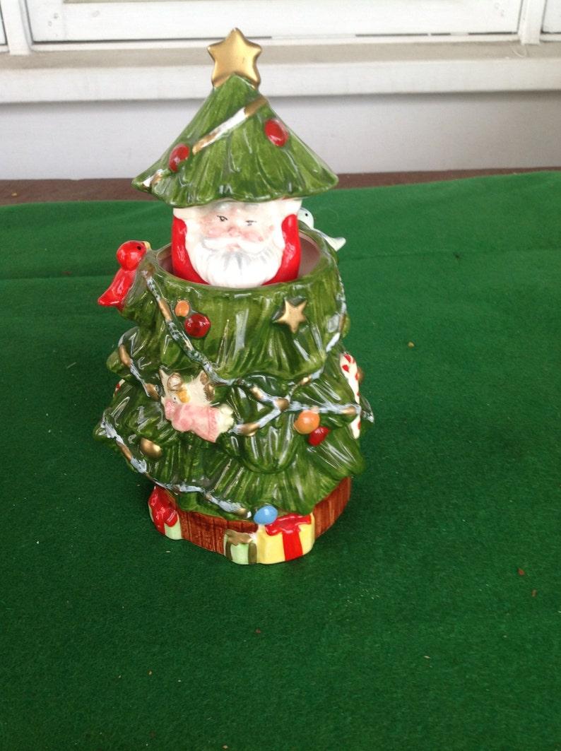 Christmas Santa Holiday Lantern Candle Holder Table Decor All Metal Shackman