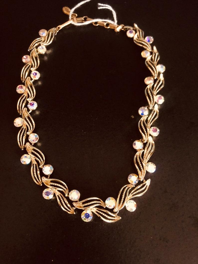 Vintage Lisner Gold Tone Choker Necklace AB Crystals