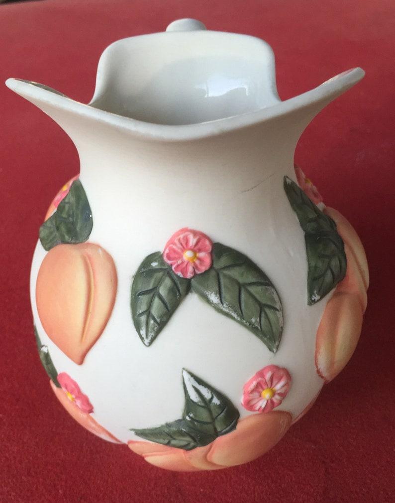 Vintage CLAIRE BURCH Ceramic Pitcher Peaches