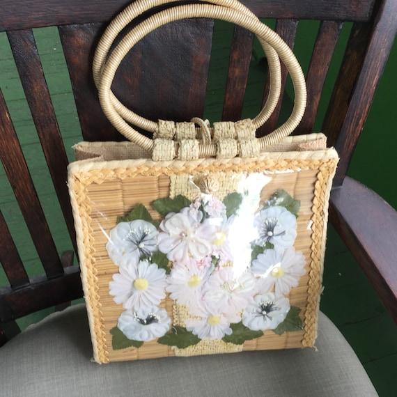 Vintage 1950 S Straw Floral Handbag Made In Philippines Etsy