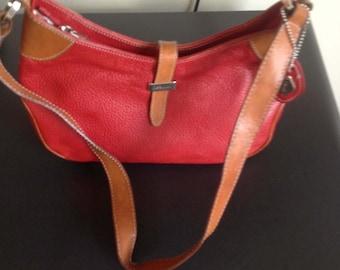 REDUCED! Isanti red/brown leather hobo shoulder handbag