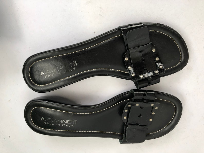 278cbfd8317b1 REDUCED! Vintage A Gianetti Black Patent Leather Slide Sandals Italy Size