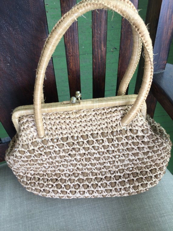 REDUCED! Marchioness beige raffia and brown/ beige