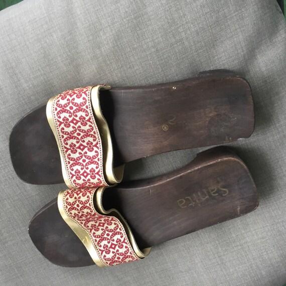 37505fbb06e4e Vintage Sanita red gold metallic slide sandals Denmark