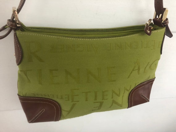 Etienne Aigner Lime Green Brown Leather Signature