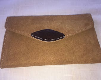 REDUCED! Vintage tan beige suede french wallet