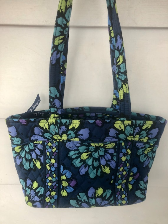 Raspberry floral and plaid small tote bag