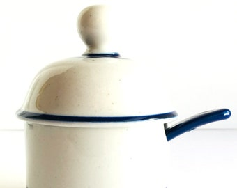 DANSK Jam Jelly Jar with Lid & Spoon Gray with Blue Bands Niels Refsgaard Design