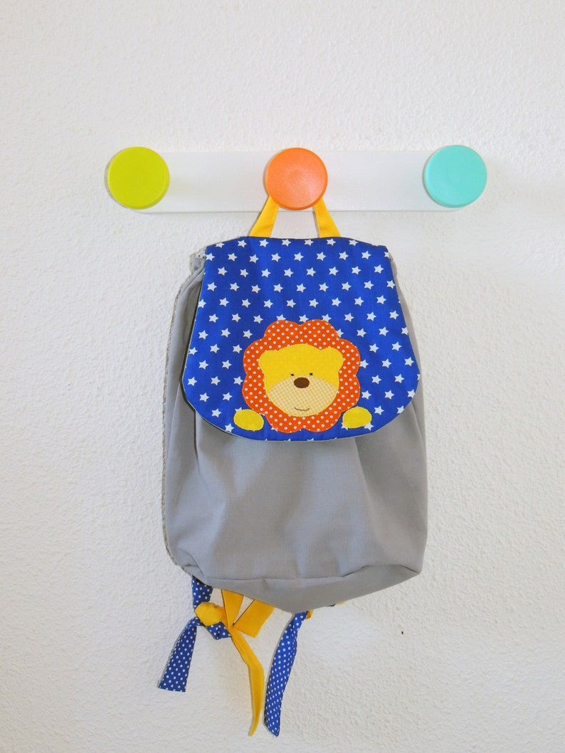 Maternal backpack or crib lion grey cotton children's image 0