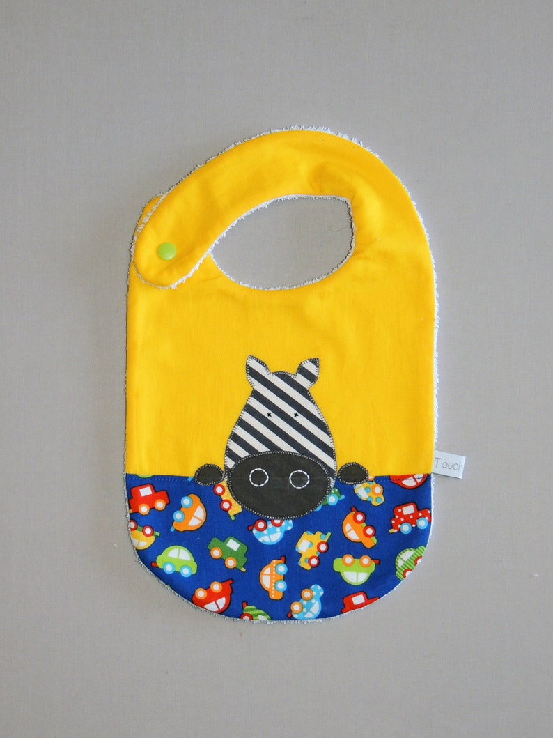 Baby bib zebra 6/24 months yellow cotton sponge image 0