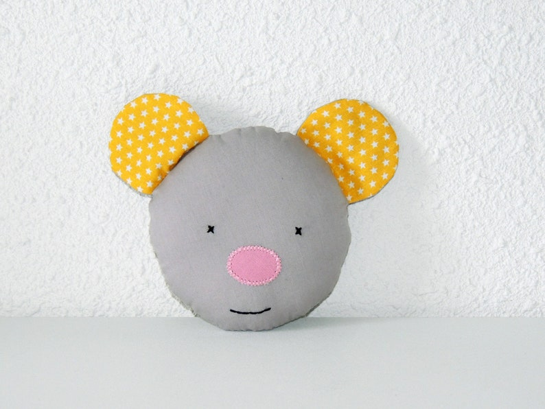 Mini mouse cushion milk tooth grey and yellow cotton image 0