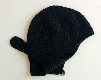 1960s black wool bonnet cap