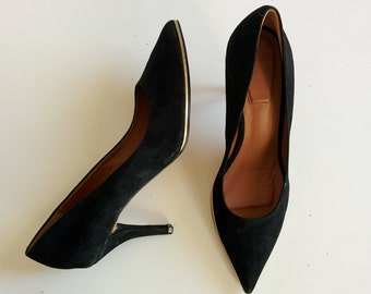 Givenchy suede pointy pumps with gold detail