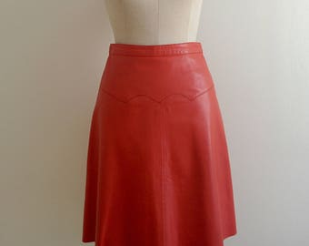 80s red leather circle skirt