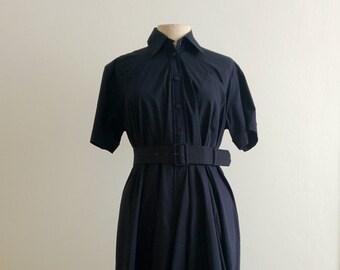 Jean Paul Gaultier blue pleated shirt dress
