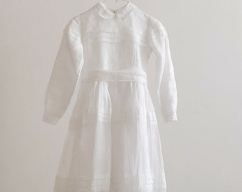 60s white silk organza dress