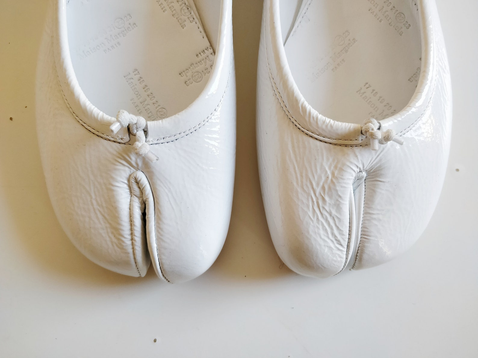maison margiela white patent tabi ballet flat