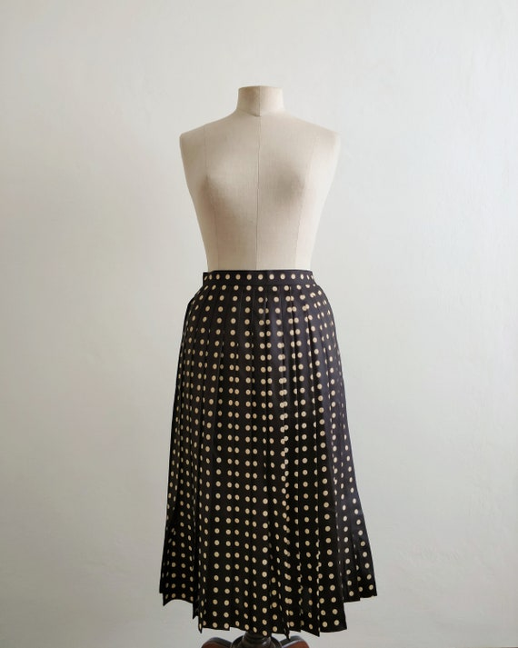 80s black satin polka dots pleated skirt
