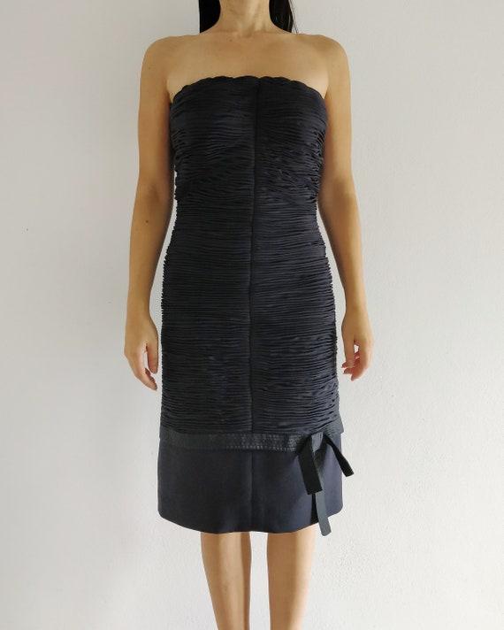 80s GIANNI VERSACE silk pleated dress with silk sa
