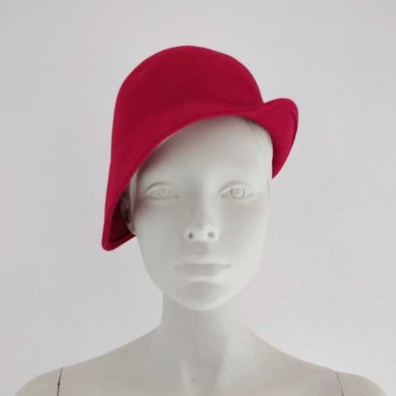 60s red wool hat