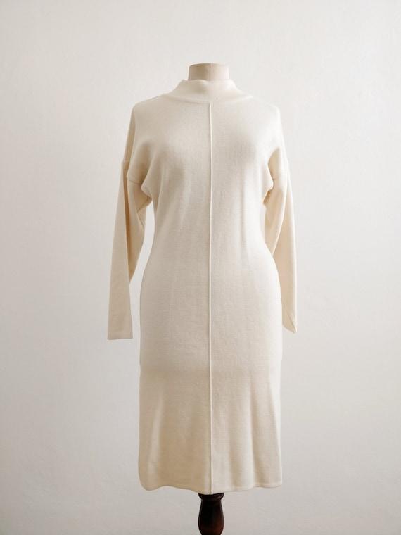 80s turtle neck ivory wool dress