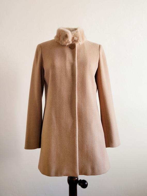 90s beige cachemire angora coat