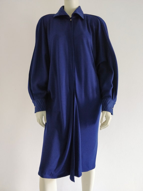 1980s GIANNI VERSACE wool batwing dress