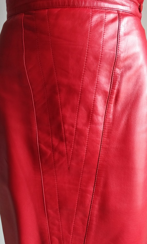 1980s GENNY red leather pencil skirt
