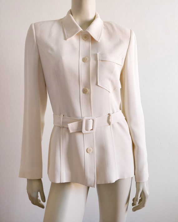 Minimalist white belt jacket
