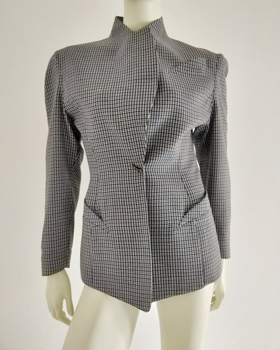 1980s THIERRY MUGLER grey houndstooth wool blazer