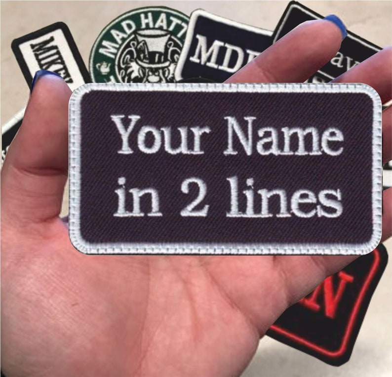 1e6951e7dcd7f 2 Line, Custom Embroidered, Biker, Name Tag, PATCH Iron on or Sew on , 4