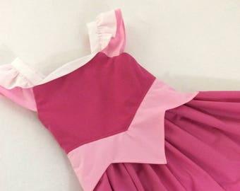 Aurora Dress in Pink with White Straps
